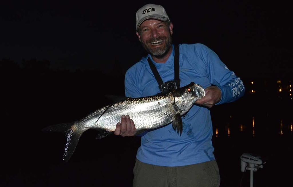 Tarpon On A Fly At Night
